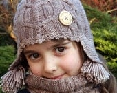 Earflap Double Cabled Set - Knitting pattern -Toddler, Child and Teen sizes - eBook/pdf pattern