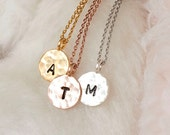 Tiny Round Hammered Initial Charm Necklace, Gold Vermeil / Sterling Silver / Rose Gold Vermeil, Personalized Jewelry, PM ij gj