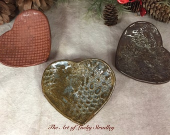 CERAMIC HEART DISHES - These unique dishes are original, one of a kind, hand sculpted heart-shaped dishes, made of glazed stoneware clay. #2
