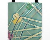 Colorful Canvas Beach Bag with Ferris Wheel - California Beach Boardwalk - Blue, Yellow, Purple, Green - Soft Pastels