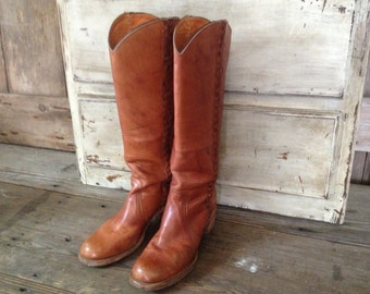 Frye Brown Leather Riding Boots, Braided, Size 8 9 US Women