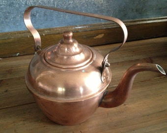 French Copper Tea Pot, Water Kettle Rustic Country Farmhouse