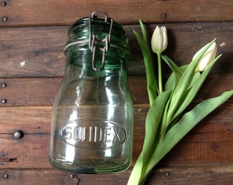 1930s French Solidex Aqua Green Glass Mason Canning Jar ~ French Country Farmhouse