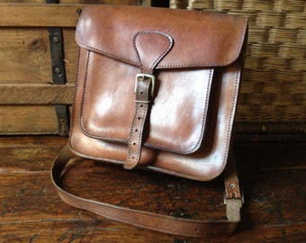 Brown Leather Purse Saddle Bag, Crossbody Messenger, Mini Briefcase, Vintage Rustic Artisan