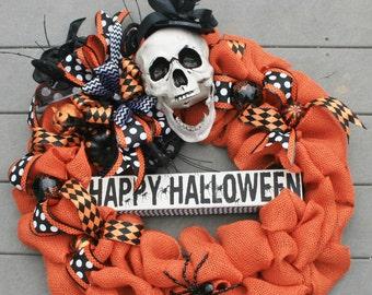 Happy Halloween Skeleton Wreath