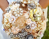 """RESERVED for Hailey BALANCE Payment Custom Order 10"""" Bridal Brooch Bouquet Off White Cream Gold Ivory White Crystal Bouquet"""