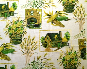 Vintage 70s Curtain Fabric Farmland Argicultural Novelty Print Sweet Corn Wheat Crop Homestead Farmer Mid Century Home Decor Cute Bright Fun