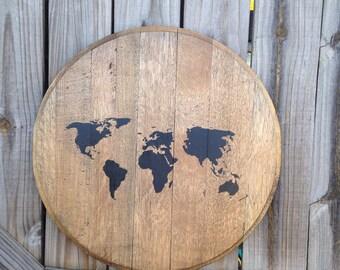 Bourbon whiskey map barrel top