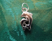 Vintage Dolphins Pendant in Silver Tone, Mother and Baby, Nice Condition