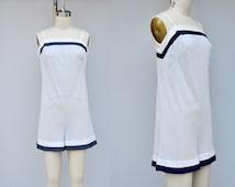 Vintage Teddy Romper Nautical Sailor Mini Jumpsuit Slip Lingerie Sheer Striped Light Blue Mod Boho by Top Form size 32 - XS - S