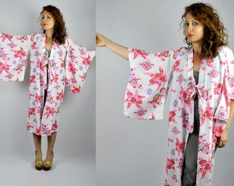 Vintage Pink Cotton Kimono - Kimono Robe - Japanese Kimono - Kimono Jacket Duster - Floral Kimono - Bed Jacket - Long Kimono Boho Size S - M