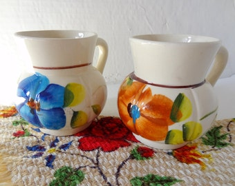 Pair Of Vintage Mexican Floral Mugs