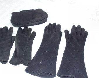 Vintage Black Evening Dress Glove Set with Black Crepe Evening Bag, Crescendo Long Gloves, Elvette Short Gloves, Vintage Eveningware