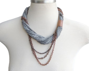Textured Grey Leather  and Copper Chain Necklace, Multi Strand Leather Statement Necklace, Leather Jewelry Necklace for Women