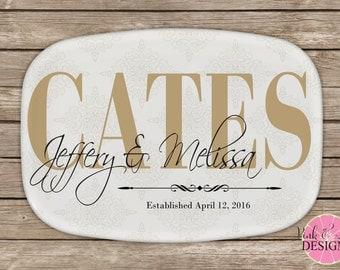 Design Your Own Personalized Melamine Platter, Monogrammed Platter, Bridal Shower Gift, Wedding Gift,  Housewarming Gift