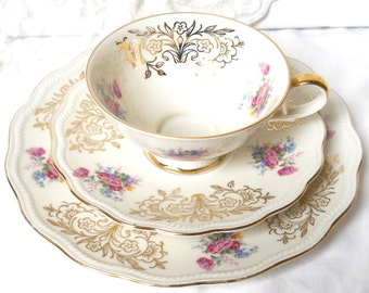 vintage tea cup trio tea cups and saucers teacup trio tea set german porcelain german tea cups  868