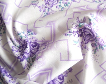 ilac floral fabric vintage french fabric quilting fabric antique lilac floral fabric  french floral fabric 177