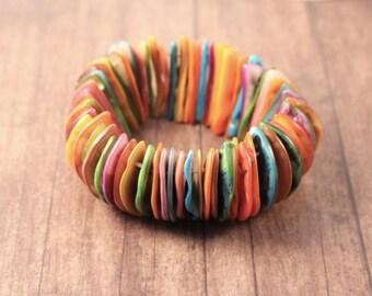 Colorful Shell Stretch Bracelet
