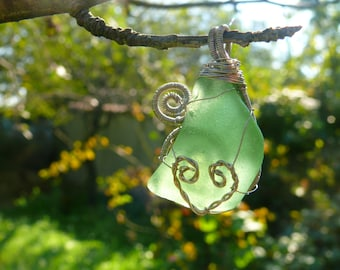 Heart sea glass pendant, wire wrapped pendant, beach glass Birthday gift, green sea glass jewelry, silver copper wire, aqua sea foam, chain