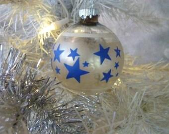 Hand Painted White Stripes Christmas Bulb, 1960's USA Made Christmas Tree Decorations Bulb, Blue Stars