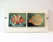 Whimsical Fish Art.  Polaroid Transfers Printed on Fired Ceramic. Toy Fish.  Hand Made.