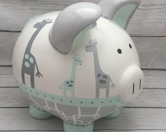 Mint and grey gray artisan hand painted ceramic personalized piggy bank ~ Uptown Giraffe