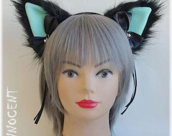 Handmade human size unique furry nekomimi / cat ears headband ~ mint version