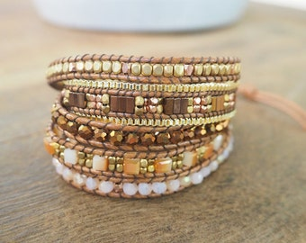 5 time multi brown wrap bracelet