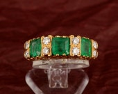 Beautiful Art Deco 2.00 Ct Colombian emerald and .60 Ct diamond trilogy ring