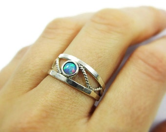 Sterling silver rope ring. Opal ring. Silver opal ring. Rope silver ring. Opak rope ring. birthday gift ideas. Opal jewelry (sr-9574-485).