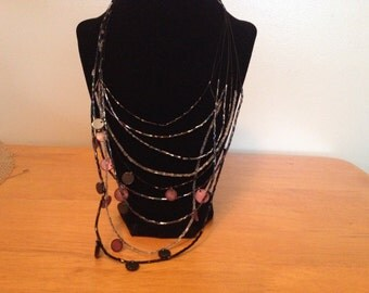 Vintage Black and Pink Beaded Necklace, Length 18-24''