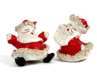Pair Spaghetti Trim Santa Claus Figurines from Japan