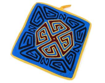 Vintage Mola Hot Mat or Pot Holder Antique Primitive Folk Art Tribal Textile Applique