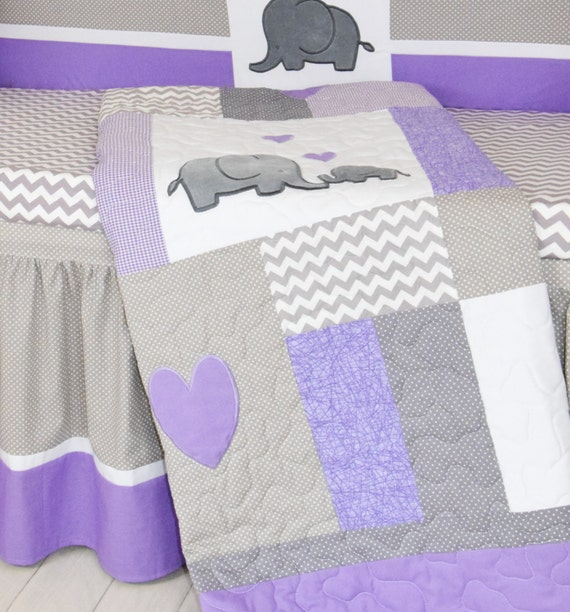 Crib Blanket, Elephant Baby Boy Bedding, Gray Purple Quilt, Chevron  Nursery