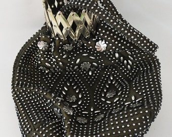 1960s Vintage Black and Silver Faux Beaded Pouch Bag with Metal Accordian Style Opening and Short Fabric Handle