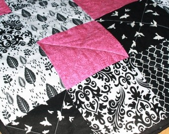Black White Pink Fuschia Baby Girl Crib Quilt