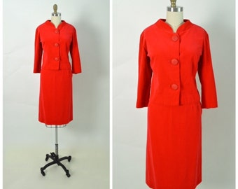 Vintage 1960s 60s Women's Suit Dress Red Velveteen Skirt and Jacket Set Jackie Kennedy Size Medium