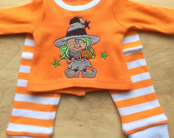 Matching Doll Halloween Pajamas, Halloween Doll Pajamas, Striped Doll Pajamas
