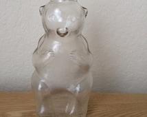 Vintage Snow Crest Bear Bank Bottle, Snow Crest Juice Bank