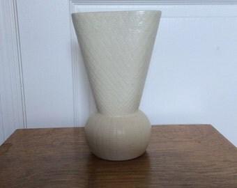 SALE!!!-Mid Century Kenwood Textured Pottery Vase, Vintage Ivory Vase, Made in USA