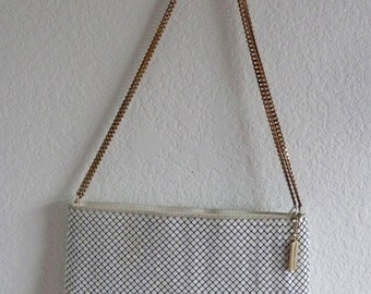 Vintage Original Whiting and Davis White Mesh Link Shoulder bag Metal Mesh Evening Bag Gold Chain Disco Bag