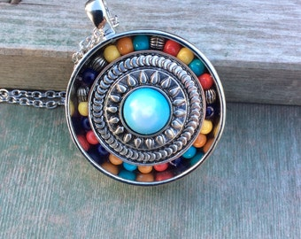 Circle Tribal Necklace/Southwestern/Aztec/Colorful
