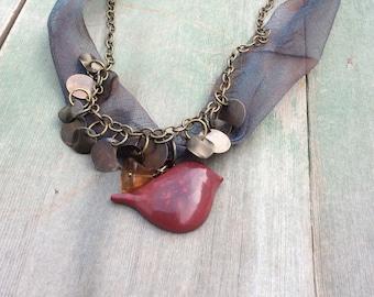 Little Red Bird Necklace/Multi Strand/Boho/Woodland
