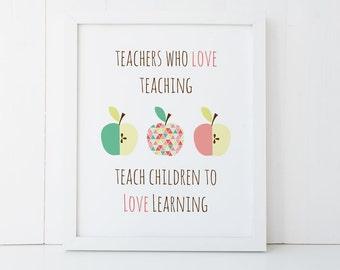 Teacher Thank You Wall Print - 8 X 10 - 3 Geometric Apple Teacher Quote - PRI016 - Wall Art for the Teacher to say Thank You