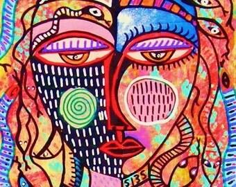 Medusa Snake Woman )( - SILBERZWEIG ORIGINAL PAINTINGS - Raw Brut Folk Tribal - Animals, Creatures, Masks, Goddess, Spiritual, Queen, Wisdom