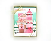 Pink Victorian Gingerbread House Card – Set of 8 Greeting Cards