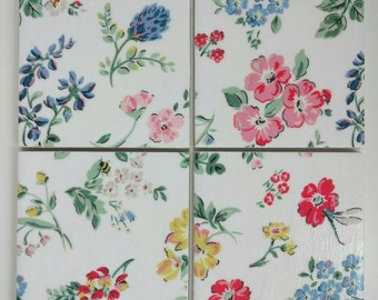 2, 4 or 6 Ceramic Coasters in Cath Kidston Meadow White