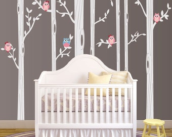 Birch Tree Wall Decal, Nursery Birch Tree Wall Decal Set With Owl Birds Forest Vinyl Sticker, Birch Tree Decal Baby Whimsical Owls #1321