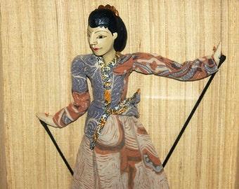 Vintage Framed Antique Javanese Wayang Golek Rod Puppet, Marionette, Batik, Indonesia, Antique Alchemy