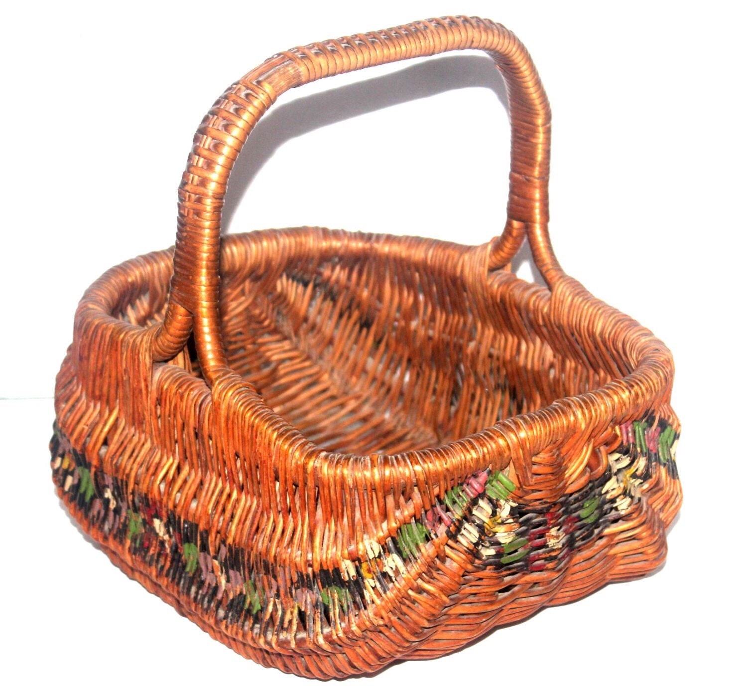 Old Handmade Baskets : Antique dutch woven painted basket amish by antiquealchemy